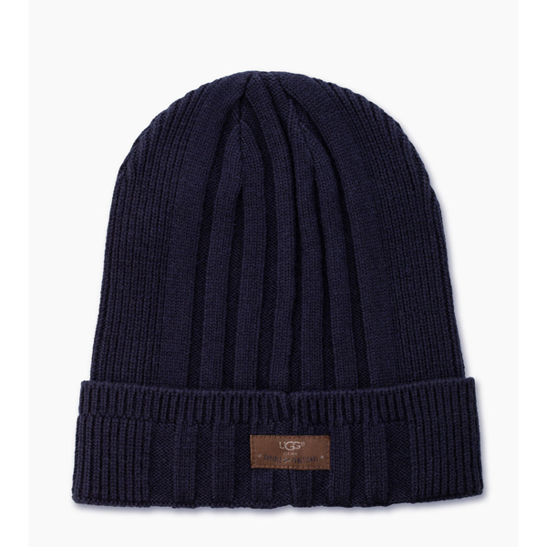 CHEAP UGG MEN\'S RIBBED CUFF HAT NAVY ONLINE