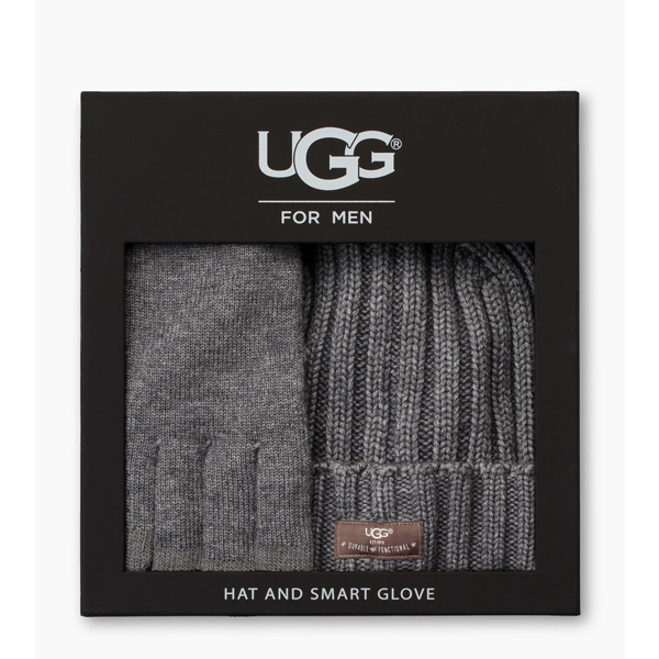 CHEAP UGG MEN\'S SMART GLOVE + RIB HAT GIFT SET CHARCOAL HEATHER ONLINE
