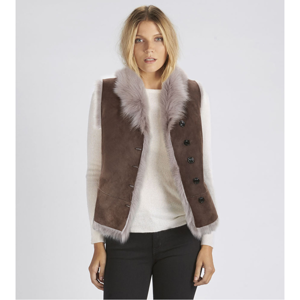 CHEAP UGG WOMEN'S TOSCANA SHEARLING VEST STORMY GREY ONLINE