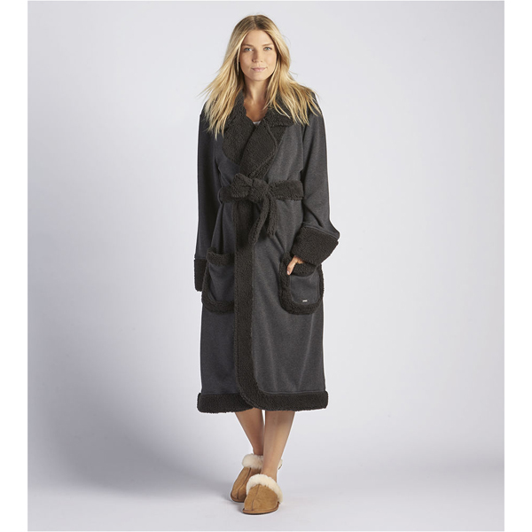 CHEAP UGG WOMEN'S DUFFIELD DELUXE ROBE BLACK BEAR HEATHER ONLINE