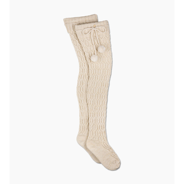 CHEAP UGG WOMEN\'S SPARKLE CABLE KNIT SOCK CREAM WITH GOLD ONLINE