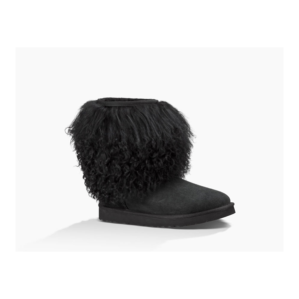 CHEAP UGG WOMEN\'S SHORT SHEEPSKIN CUFF BOOT BLACK/BLACK ONLINE