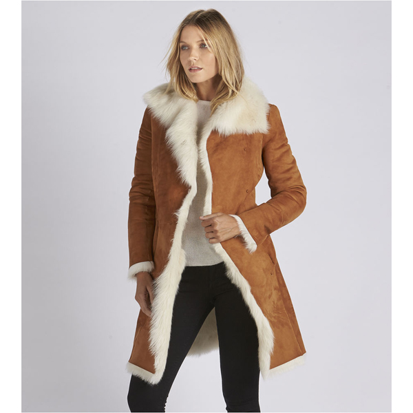 CHEAP UGG WOMEN'S TOSCANA SHEARLING COAT CHESTNUT ONLINE