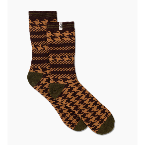 CHEAP UGG MEN'S MIXED HOUNDSTOOTH CREW SOCK CHESTNUT HOUNDSTOOTH ONLINE