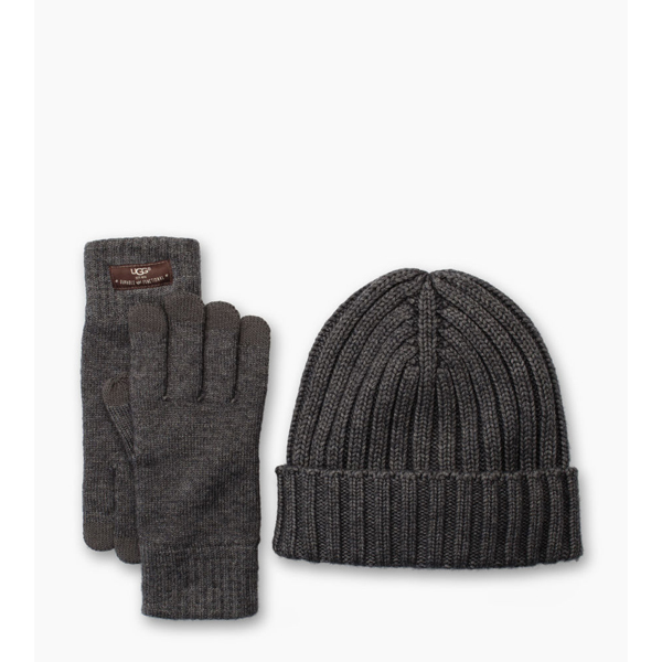 CHEAP UGG MEN'S SMART GLOVE + RIB HAT GIFT SET CHARCOAL HEATHER ONLINE