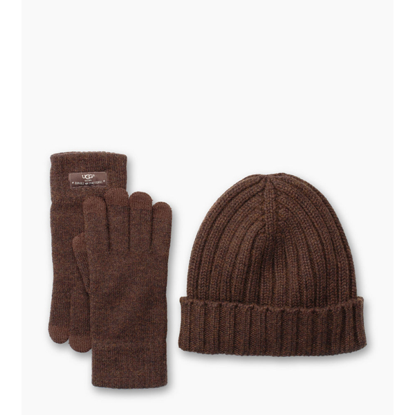 CHEAP UGG MEN'S SMART GLOVE + RIB HAT GIFT SET STOUT HEATHER ONLINE