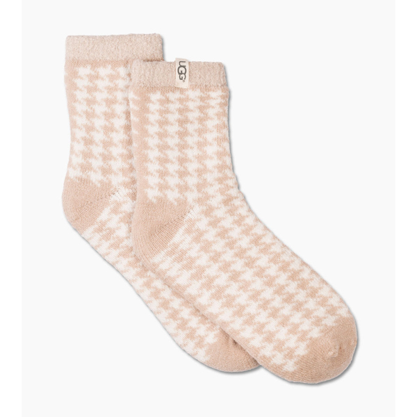 CHEAP UGG WOMEN'S HOUNDSTOOTH FLEECE LINED SOCK OATMEAL ONLINE