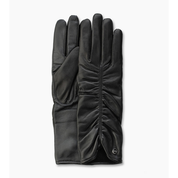 CHEAP UGG WOMEN'S RUCHED LEATHER SMART GLOVE BLACK ONLINE