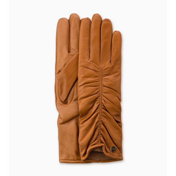 CHEAP UGG WOMEN'S RUCHED LEATHER SMART GLOVE CHESTNUT ONLINE