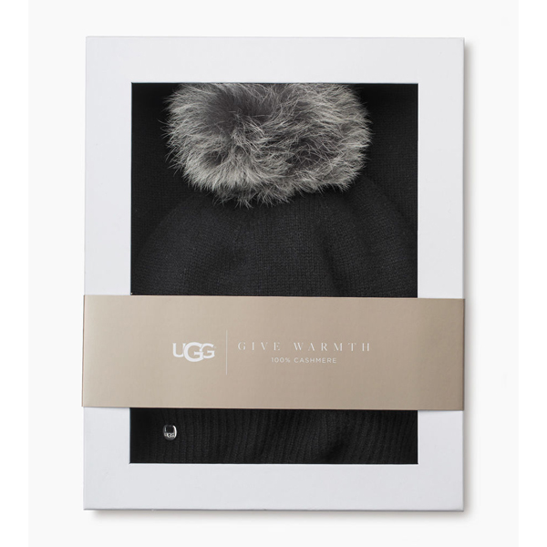 CHEAP UGG WOMEN\'S LUXE CASHMERE CUFF HAT WITH SCARF BLACK/BLACK ONLINE